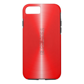 Monogramed Metallic Red Stainless Steel Look iPhone 8/7 Case