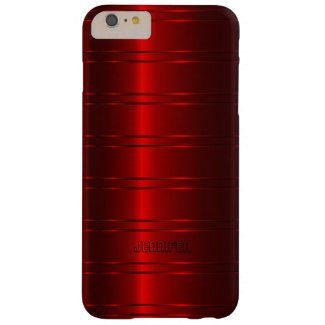 Monogramed Metallic Red Stripes Pattern Barely There iPhone 6 Plus Case