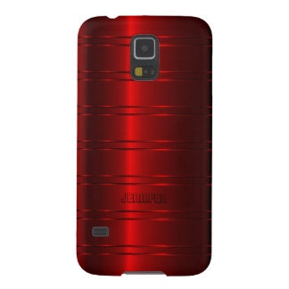 Monogramed Metallic Red Stripes Pattern Galaxy S5 Cover