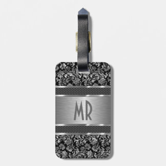 Monogramed Metallic Silver Brushed Aluminum Look Tag For Luggage