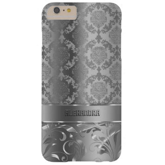 Monogramed Metallic Silver Damasks & Lace Pattern Barely There iPhone 6 Plus Case