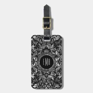 Monogramed Metallic Silver Orante Floral Damasks 2 Bag Tag