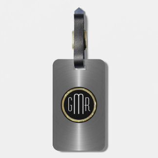 Monogramed Metallic Silver Stainless Steel Look 2 Tag For Luggage