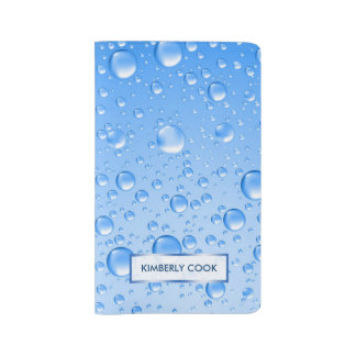 Monogramed Metallic Sky Blue Rain Drops Large Moleskine Notebook Cover With Notebook