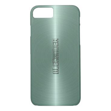 Halloween Themed Monogramed Mint-Green Metallic Background iPhone 7 Case