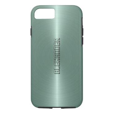 Halloween Themed Monogramed Mint-Green Metallic Background iPhone 8/7 Case