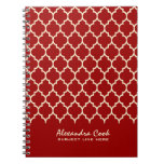 Monogramed modelo rojo y poner crema de Borgoña de Libros De Apuntes Con Espiral