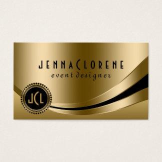Monogramed Modern Black & Gold Dynamic Lines 2 Business Card