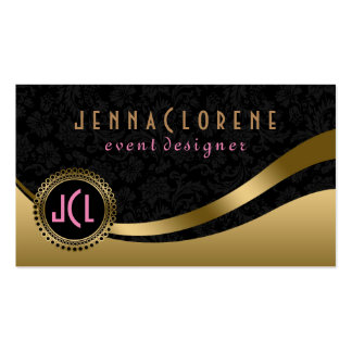 Monogramed Modern Black & Gold Dynamic Lines Double-Sided Standard Business Cards (Pack Of 100)