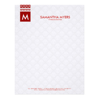 Monogramed Modern Burgundy Red And White Letterhead