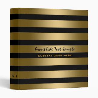 Monogramed Modern Gold Stripes Black Background 3 Ring Binder
