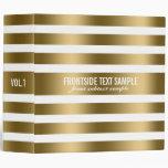 Monogramed Modern Gold Stripes White Background 2 Vinyl Binder