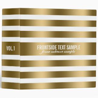 Monogramed Modern Gold Stripes White Background 2 3 Ring Binders