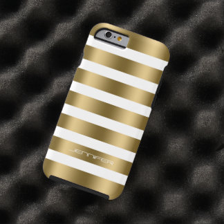 Monogramed Modern Gold Stripes White Background Tough iPhone 6 Case