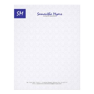 Monogramed Modern Royal Blue And White Damasks Letterhead