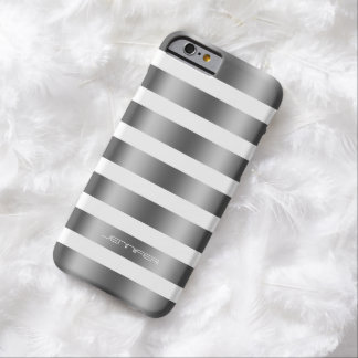 Monogramed Modern Silver Stripes White Background Barely There iPhone 6 Case