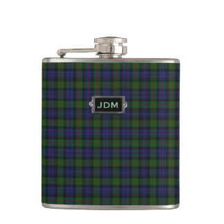 Monogramed Murray Tartan Plaid Flask