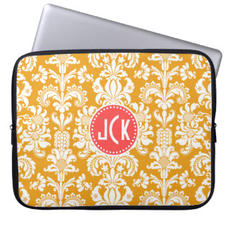 Monogramed Mustard Yellow & White Floral Damasks Computer Sleeve