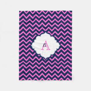 Monogramed Navy-Blue And Pink Zigzag Chevron Fleece Blanket