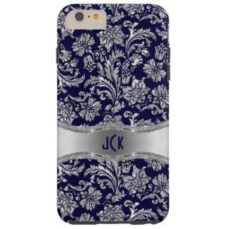 Monogramed Navy Blue & Metallic Silver Damasks Tough iPhone 6 Plus Case