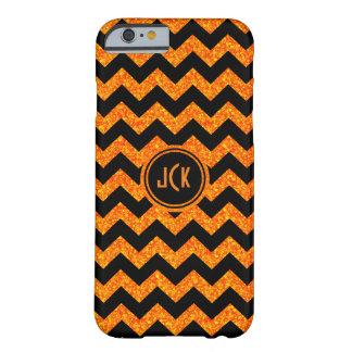 Monogramed Orange Glitter & Black Zigzag Chevron Barely There iPhone 6 Case