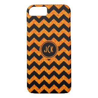 Monogramed Orange Glitter & Black Zigzag Chevron iPhone 7 Case