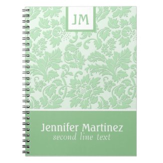 Monogramed Pastel Green Monochromatic Damask
