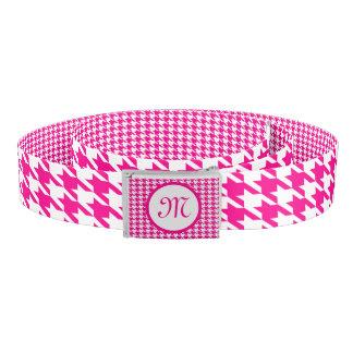Monogramed Pink And White Houndstooth 2 Belt