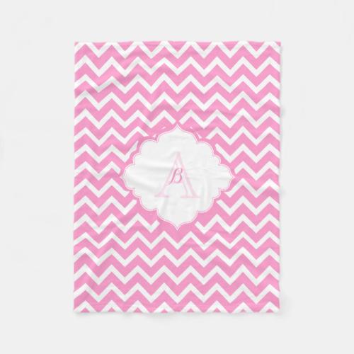 Monogramed Pink And White Zigzag Chevron Fleece Blanket