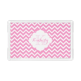 Monogramed Pink And White Zigzag Chevron