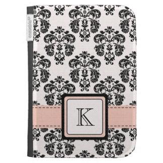 Monogramed Pink Black Damask Kindle 3 Folio Case Kindle Keyboard Cases