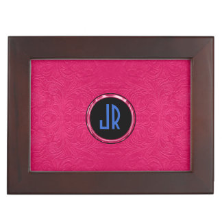 Monogramed Pink & Blue Suede Leather Floral Design Memory Box