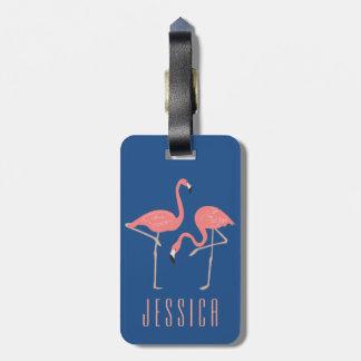 Monogramed Pink Flamingo Illustration Bag Tag