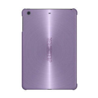 Monogramed Plain Plum Purple Metallic Background iPad Mini Retina Cover