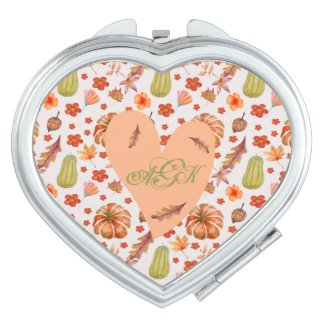 Monogramed Pumpkins, Flowers, and Fall Leaves Compact Mirror