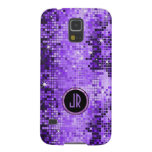 Monogramed Purple Disco-Ball Glitter Cases For Galaxy S5