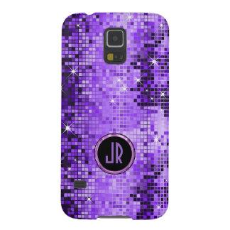 Monogramed Purple Disco-Ball Glitter Galaxy S5 Cover