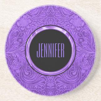 Monogramed Purple Suede Leather Look Floral Design Coaster