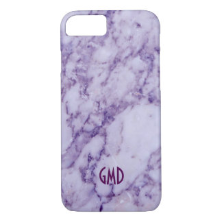 Monogramed Purple Tint Marble Stone Pattern iPhone 7 Case
