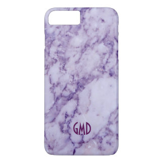 Monogramed Purple Tint Marble Stone Pattern iPhone 7 Plus Case