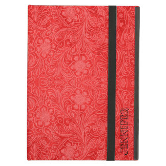 Monogramed Red Suede Leather Look Embossed Flowers Cover For iPad Air