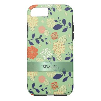 Monogramed Retro Floral Design Metallic Accent