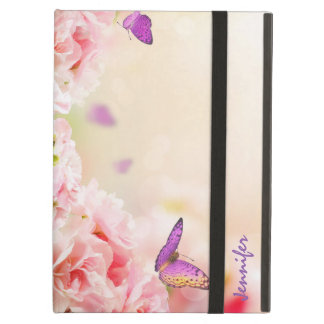 Monogramed Romantic Pink Roses And Butterfly's Case For iPad Air