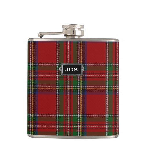 Monogramed Royal Stewart Tartan Plaid Flask Zazzle