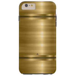 Monogramed Shiny Metallic Gold Stripes Tough iPhone 6 Plus Case