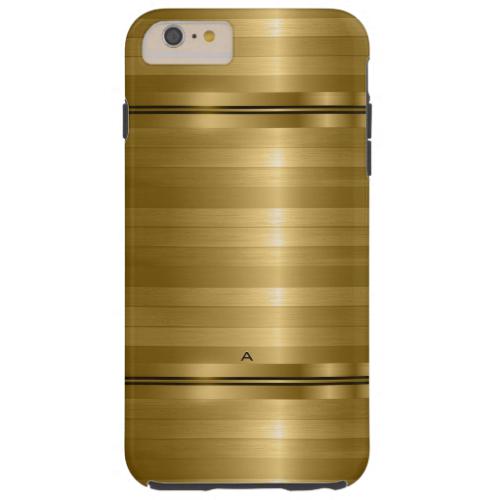 Monogramed Shiny Metallic Gold Stripes Tough iPhone 6 Plus Case