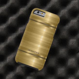 Monogramed Shiny Metallic Gold Stripes Tough iPhone 6 Case