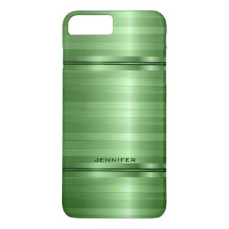 Monogramed Shiny Metallic Green Stripes