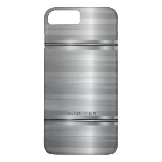Monogramed Shiny Metallic Silver Gray Stripes