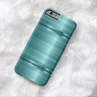 Monogramed Shiny Metallic Turquoise Stripes Barely There iPhone 6 Case